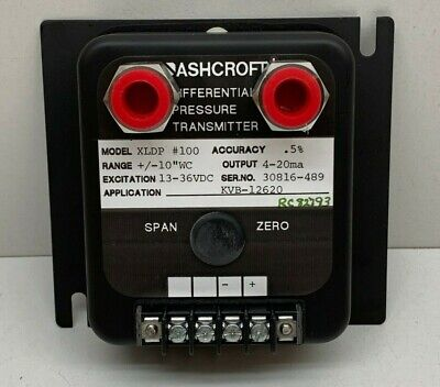 "Ashcroft XLDP #100 Differential Pressure Transmitter +/-10""WC, XLDP-050-C-0-..."