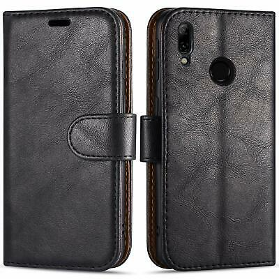 Premium Leather Case For Redmi Note 7 Black Magnetic Wallet Style ID Card Slots