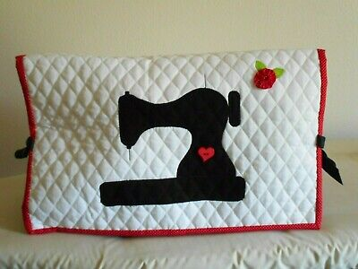 Featherweight Sewing Machine Dust Cover Red / White Yo Yo Quilted