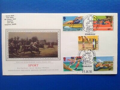 1986 SOTHEBY'S COLLECTION Silk First Day Cover SPORT SHS FDC GB Stamps