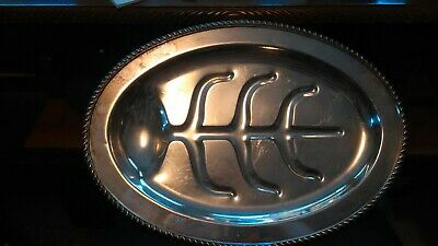 Vintage English Silver plate MFG CORP Oval Footed Tray USA