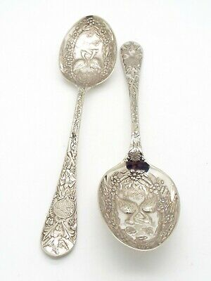 Antique Silver Plated EPNS Serving Spoons Reg Mark Japanese Aesthetic Design