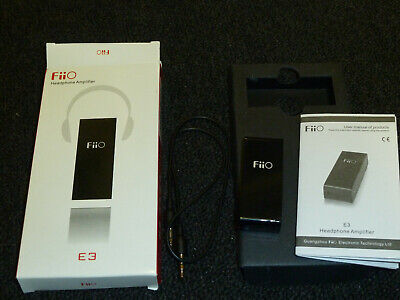 FIIO E3 MINI PORTABLE HEADPHONE AMPLIFIER AMP Booster Bass Boxed Black 3.5mm AAA