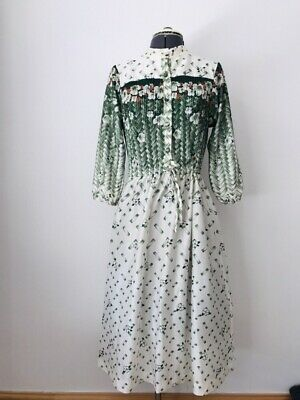 vintage 70s Ladies White Cream floral Pleated Tie String Summer Tea dress Sz 16