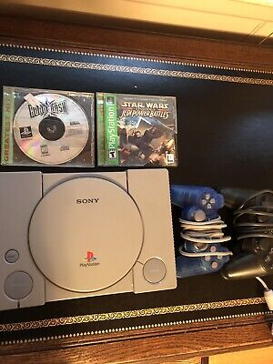 Sony PlayStation 1 PS1 Gray Game Console Bundle 2 Controllers 2 Games Etc AS IS