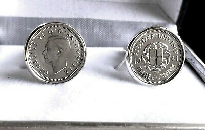 925 SILVER THREEPENCE COINS IN CUFF LINKS VICTORIA,EDWARD,GEORGEV+1930-1943   x1