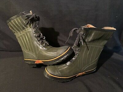Weather Rite Men Size 9 Steel Shank Rubber Rain Boots Insulated Green Deluxe
