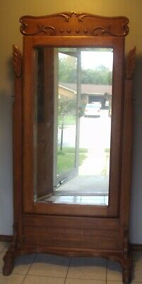 Antique Oak Cheval Mirror Hand And Applied Carvings