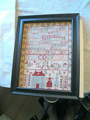 NR-FOLK ART 1834 BLUE HOUSE SAMPLER w/RED ROOF- FANCIFUL PEOPLE IN PERIOD DRESS