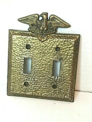 Vintage American Tack Hardware Toggle Switch Double Plate Cover Eagle