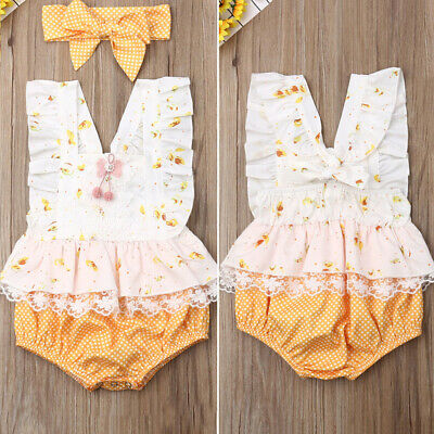 Sweet Newborn Baby Girl Ruffle Flower&Dots Lace Romper Jumpsuit Headband Clothes
