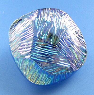 LARGE STUNNING Vintage Czech Blue Iridescent Glass Square Button Aurora Borealis