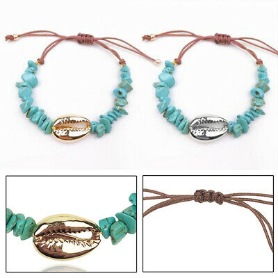 Natural Turquoise Sea Shell Bracelets Beach Bangle Charm Jewelry Accessory