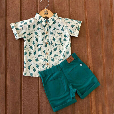 AU 2Pcs Toddler Kids Baby Boy Clothes Lapel Button Shirt Shorts Pants  Outfits
