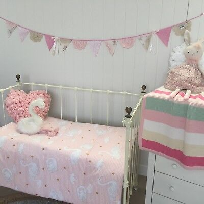 Baby Girls Cot Quilt Swan Princess Padded Crib Coverlet / Play Mat Nursery Decor