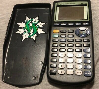 Texas Instruments TI-83 Plus Graphing Calculator w/ Cover For Parts Black Screen