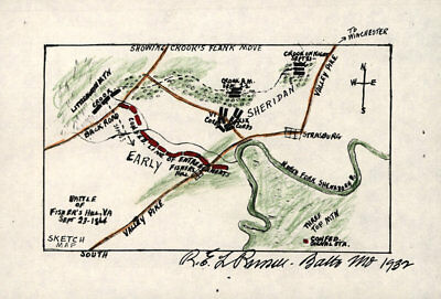 Battle of Fishers Hill Virginia c1864 map 16x12