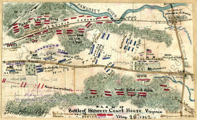 Battle of Hanover Court House Virginia c1862 map 19x12