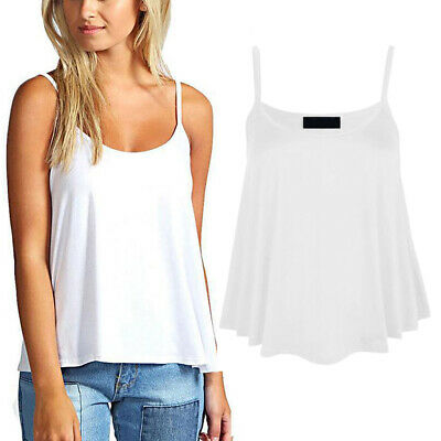 Womens Camisole Cami Swing Top Vest Tops Scoop Neck Strappy Flared Sleeveless
