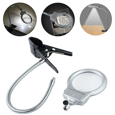 LED Table Light Top Desk 2.5X 5X Magnifier Lamp Magnifying Glass & Clamp Acrylic
