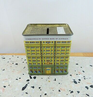 Vintage Commonwealth Savings Bank of Australia Money Box Tin
