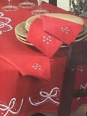 """Herrschners WHITE BELLS NAPKINS RED - Stamped Embroidery  #530285 16"""" x 16"""" 4 pc"""