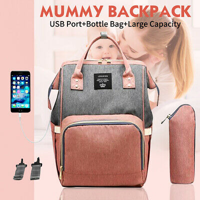 LEQUEEN Large Capacity Mummy Maternity Baby Nappy Diaper Bag Travel USB Backpack