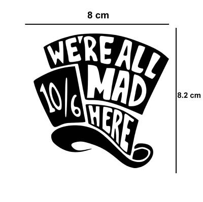 Mad Hatter Iron on Screen Print fabric Machine Washable patch tea party alice