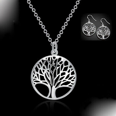 925 Silver Womens Tree of Life Necklace Pendant Earrings Charm Set Jewellery