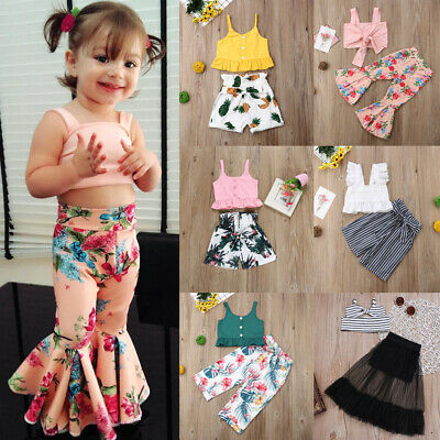 AU Toddler Baby Girl Flower Vest Crop Tops Short Pants Outfit Clothes Summer Set