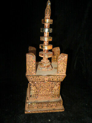 Rare China Collection Crystal HandCarved Tower with JEWEL Gemstone