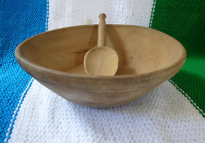 A lovely antique French turned wood dairy bowl with carved spoon rustic vintage