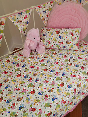 3 pce Baby Birds Nursery Cot Quilt Cushion & Bunting Package