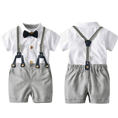 Toddler Boys Outfits Summer Formal Short Sleeve Shirt Tops + Suspender Pants Set
