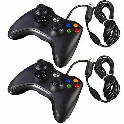 2Pcs New Black Wired USB Game Pad Controller For Microsoft Xbox 360 PC Window CN