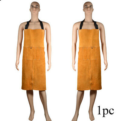 Anti Scald Welding Apron Orange With Pocket Unisex Wear Resistant Protective