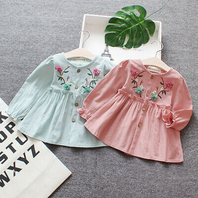 1PC Girls baby clothes kids Baby Girls long sleeve shirt Party daily cute DRESS