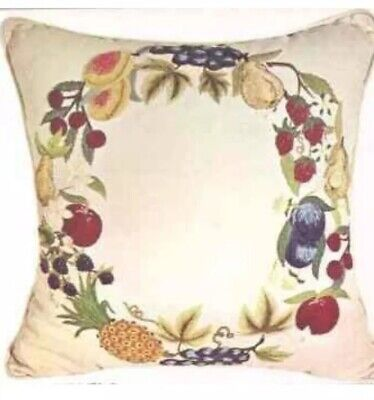 """Blanche Virgien Dell Robbia Pillow Crewel Embroidery 17"""" Fruit 1960's Rare"""