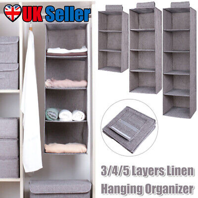 3/4/5 Layers Home Wardrobe Holder Rack Closet Organizer Storage Linen Fabric Bag