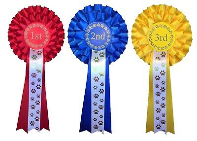 5 Packs of 1st - 3rd Place 2 Tier Rosettes Dog Themed