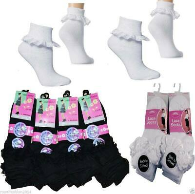Ladies Girls Frill Lace Trim Ankle Trainer Liner School Cotton Socks BLACK WHITE