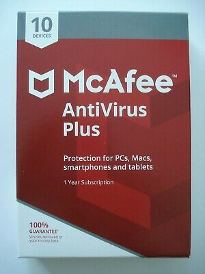 McAFEE  Anti-Virus Plus 2019 - 10 Devices / 1 Year - NEW in Retail Box