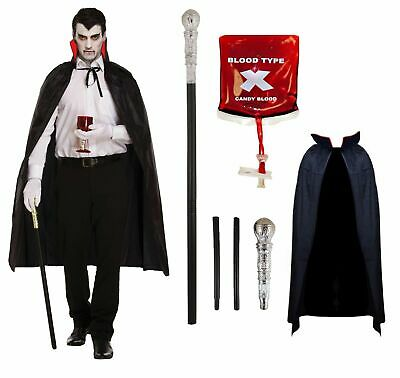 Mens Deluxe Vampire Costume Adults Dracula Halloween Fancy Dress Grave Outfit