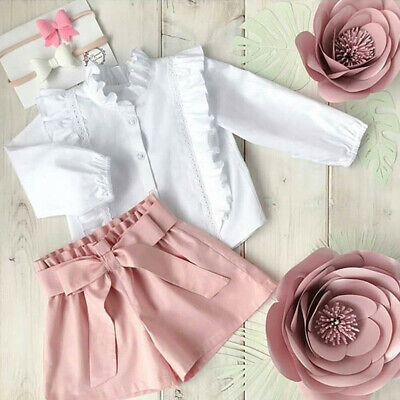 Toddler Kids Baby Girl Clothes Ruffle Tops Shirt Shorts Summer Child Outfit 2PCS