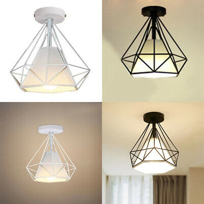 Vintage Industrial Retro Iron Diamond Ceiling Hang Lamp Shade Pendant Light