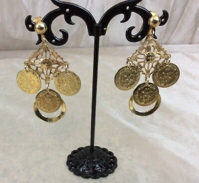 "Beautiful Vintage Triangle Gold Tone Dangle Drop Style Earrings  2.25""  (215)"