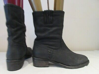 Next Black Leather Mid Height Pull On Boots Uk 4 Eu 37 (3169)