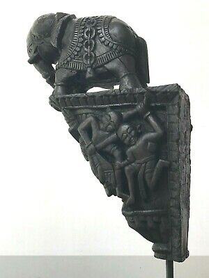 Antique Vintage Indian Hand-Carved Elephant Corbel. Mounted On A Later  Stand.