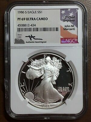 1986 S American Silver Eagle ASE 1 oz S$1 NGC PF 69 Ultra Cameo Mercanti Signed