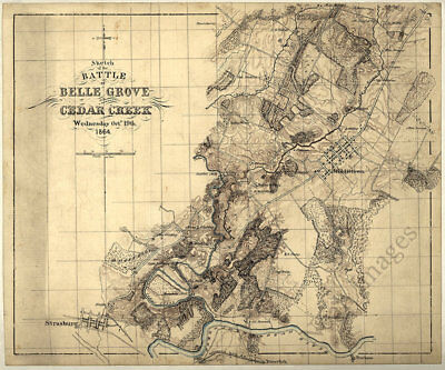 Sketch of the battle of Belle Grove Virginia c1864 map 14x12